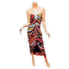 Vtg Silk Diane von Furstenberg multi colored sarong maxi dress beaded halter neckline