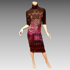 Vtg Etro Milano,Italy high neck dress with water fall