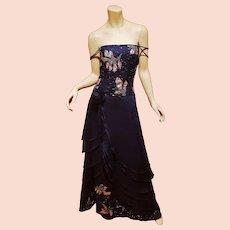 Vtg Coli Couture azul embellished layered gown w/fringe shawl