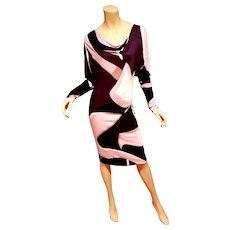Vtg Italian Modernist Geometric print draped purple dress