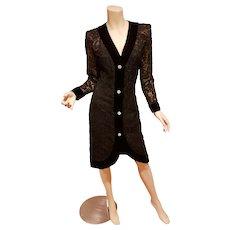 Vtg Givenchy Nouvelle Boutique Couture Guipure/Velvet Coat Dress rhinestone buttons