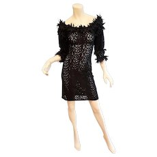 Vtg Anne Fontaine Paris open lace & Feathers layering short dress