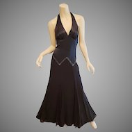 Vtg BCBG Paris Satin Halter gown silk chiffon beaded full swing