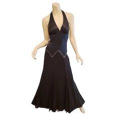 Vtg BCBG Paris Satin Halter gown silk chiffon beaded full swing