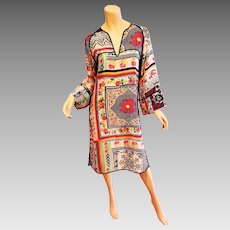 Vtg 90's Etro Milano silk Kaftan tunic dress Limited Edition