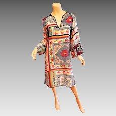 Vtg 90's Etro Milano silk Kaftan tunic dress Limited Edition