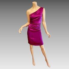 Vtg 90's Alberta Ferretti one shoulder draped silk dress $799