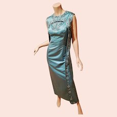 Vtg Silk Shantung embellished Gown and Cape  aqua Cocktail Maxi