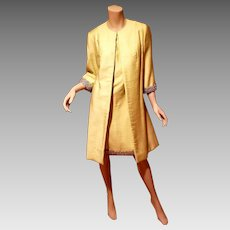 Vtg Canary yellow silk shantung coat and dress ensemble silver embellished Jackie O Look