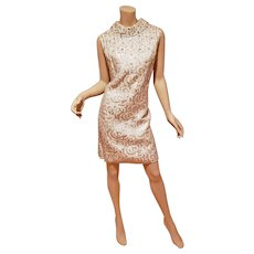 Vtg 60's Silver white lame' Brocade dress with rhinestones throughout swing flap neckline
