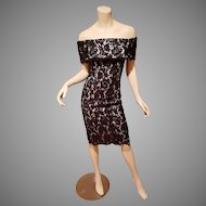 Vtg Strapless French Guipure all lace dress nude tone Illusion