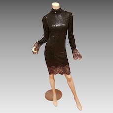 Vtg Halston Signature sequin mock neck dress floral lace cuffs & hem Retail $4,950 Saks 5th Ave