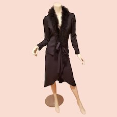 Vtg Vincenti 2pc skirt suit marabou collar wrap skirt tie jacket