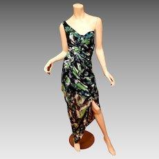Vtg Diane von Furstenberg silk dragonfly maxi green dress one shoulder