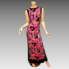 Vtg 1960's Cheongsam Boho Chic Maxi dress