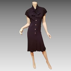 Vtg CHANEL BOUTIQUE Paris, Navy classic chic dress gold cc buttons front tie