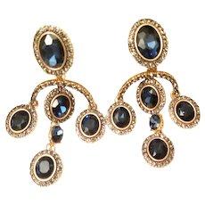Vtg Signed Oscar de La Renta Sapphire blue Chandelier Crystal  yellow Gold plating Earrings