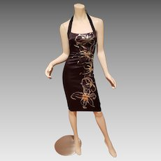Vtg Cache' Floral gold foil party cocktail hourglass dress