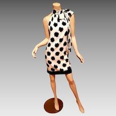 Vtg Diane von Furstenberg crepe floral shift dress bow tie at neck