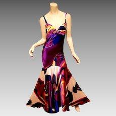 Vtg Cache' multi color silk maxi fluid bias gown spaghetti straps