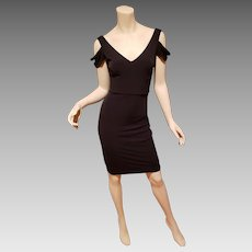 Vtg Calvin Klein Cold Shoulder Sheath black dress -S