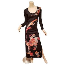 Vtg Lilli Diamond 1970's abstract floral graphic Maxi dress