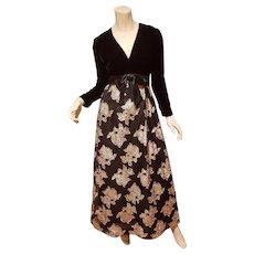 Vtg Metallic Gold Rosette organza & black velour maxi evening gown/organza double crinoline horse hair