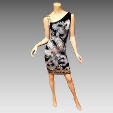 Vtg Versace Versus printed knit dress Medusa Chain Shoulder strap, Italy