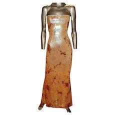 Escada Couture Sequin Vintage Gown Rhinestones Straps Train Silk Crepe 3K