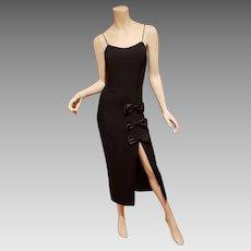 Vintage Vamp crepe dress satin kitten bow on high slit