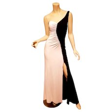 Vtg One shoulder Cache' gown black & White high slit rhinestones