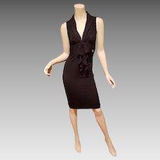 John Galliano Little black silk trim collar dress Galliano metal Logo, Italy
