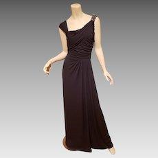 Vtg Grecian David Meister embellished shoulder blue gown