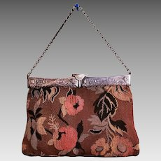 Vtg French Aubusson type Hand bag with  carved silver metal frame and chain