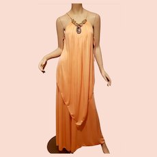Vtg Peach Goddess boho chic layered scarf maxi  embellished gold collar