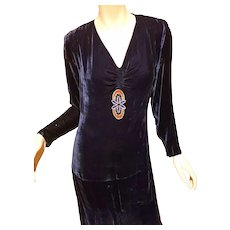 Antique 1910 silk velour flapper navy dress with beaded front detailed