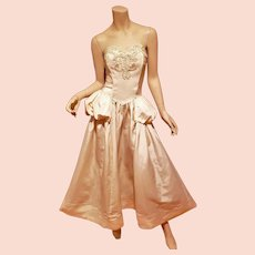 Vtg 1950 strapless ball gown with basque and bodice embellishments