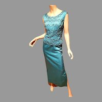 Vtg 1950's Couture aqua silk shantung Embellished cocktail maxi dress 2 parts metal zipper