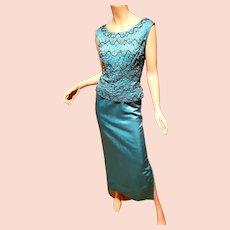 Vtg 1950's Couture aqua silk shantung Embellished cocktail maxi dress 2 parts metal zipper