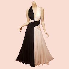 Michael Casey Couture Ball Gown flowing draped Jeweled Rare