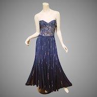 Rebecca Taylor blue Meteor shower embellished silk gown