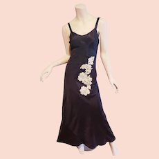 Vtg 1930's dress slip satin w/applique  pearls metal zip
