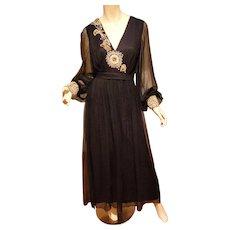 Vtg 1950's Goddess Formal Embellished Chiffon Gown black/gold