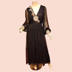 Vtg 1950's Goddess Formal Embellished Chiffon Gown black/gold