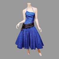 Vtg Blue Azul Ball Midi asymmetrical dress shantung w/ velour polka dots full sweep