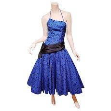 Vtg Blue Azul Ball Midi asymmetrical dress shantung w/ velour polka dots full sweep