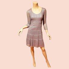 Vtg Anne Klein silver Metallic macrame wiggle dress