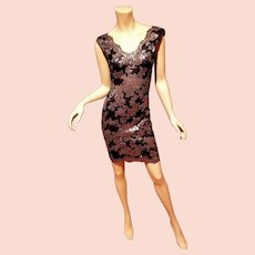 Vtg Tadashi Shogi Body Con lave w gold sequins dress