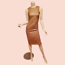 Vtg Ruffo Italy Pelle Leather Camel colored stitched dress body con