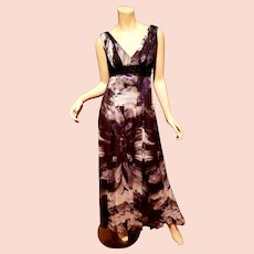 Vtg Flavio Castellani Italy silk empire maxi grecian gown